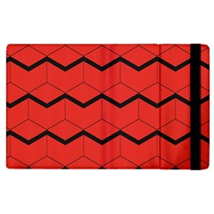 Red Box Pattern Apple Ipad 3/4 Flip Case by berwies