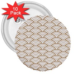 Art Deco,japanese Fan Pattern, Gold,white,vintage,chic,elegant,beautiful,shell Pattern, Modern,trendy 3  Buttons (10 Pack)  by 8fugoso