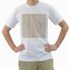 Art Deco,japanese Fan Pattern, Gold,white,vintage,chic,elegant,beautiful,shell Pattern, Modern,trendy Men s T Shirt (white) (two Sided) by 8fugoso
