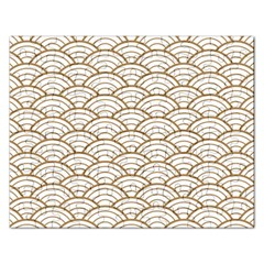 Art Deco,japanese Fan Pattern, Gold,white,vintage,chic,elegant,beautiful,shell Pattern, Modern,trendy Rectangular Jigsaw Puzzl by 8fugoso