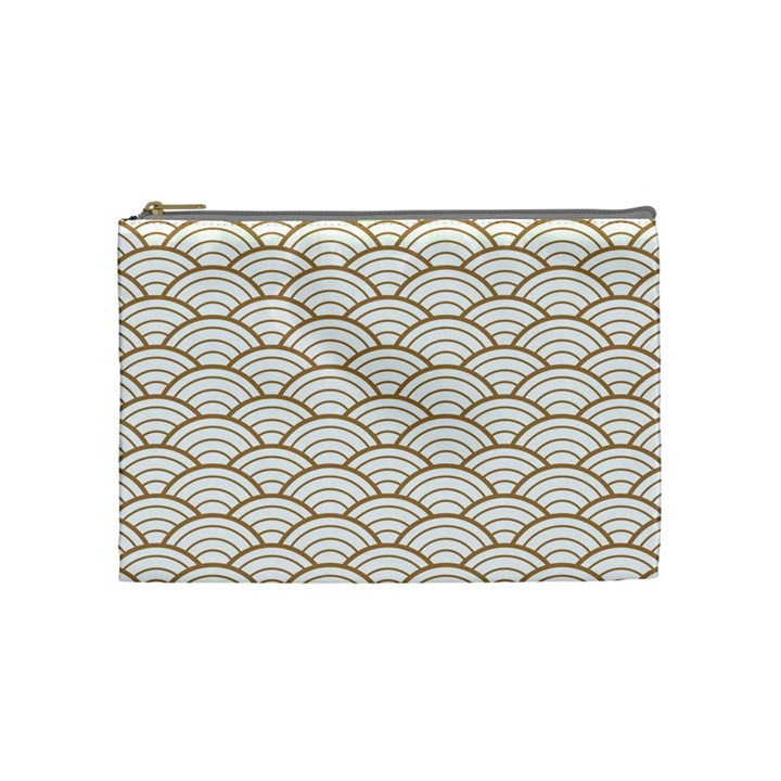 art deco,japanese fan pattern, gold,white,vintage,chic,elegant,beautiful,shell pattern, modern,trendy Cosmetic Bag (Medium)