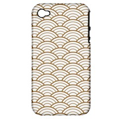 Art Deco,japanese Fan Pattern, Gold,white,vintage,chic,elegant,beautiful,shell Pattern, Modern,trendy Apple Iphone 4/4s Hardshell Case (pc+silicone) by 8fugoso