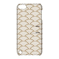 Art Deco,japanese Fan Pattern, Gold,white,vintage,chic,elegant,beautiful,shell Pattern, Modern,trendy Apple Ipod Touch 5 Hardshell Case With Stand by 8fugoso