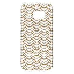 Art Deco,japanese Fan Pattern, Gold,white,vintage,chic,elegant,beautiful,shell Pattern, Modern,trendy Samsung Galaxy S7 Edge Hardshell Case by 8fugoso