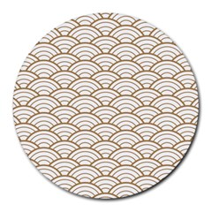 Art Deco,japanese Fan Pattern, Gold,white,vintage,chic,elegant,beautiful,shell Pattern, Modern,trendy Round Mousepads by 8fugoso