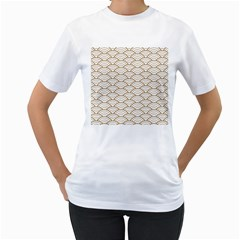 Art Deco,japanese Fan Pattern, Gold,white,vintage,chic,elegant,beautiful,shell Pattern, Modern,trendy Women s T Shirt (white) (two Sided) by 8fugoso