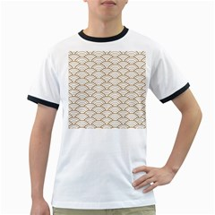Art Deco,japanese Fan Pattern, Gold,white,vintage,chic,elegant,beautiful,shell Pattern, Modern,trendy Ringer T Shirts by 8fugoso