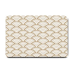 Art Deco,japanese Fan Pattern, Gold,white,vintage,chic,elegant,beautiful,shell Pattern, Modern,trendy Small Doormat  by 8fugoso