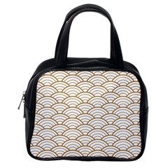 Art Deco,japanese Fan Pattern, Gold,white,vintage,chic,elegant,beautiful,shell Pattern, Modern,trendy Classic Handbags (one Side) by 8fugoso