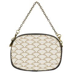 Art Deco,japanese Fan Pattern, Gold,white,vintage,chic,elegant,beautiful,shell Pattern, Modern,trendy Chain Purses (two Sides)  by 8fugoso
