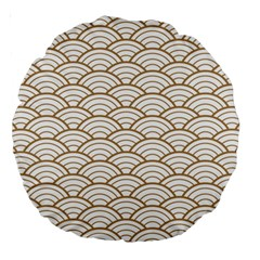 Art Deco,japanese Fan Pattern, Gold,white,vintage,chic,elegant,beautiful,shell Pattern, Modern,trendy Large 18  Premium Round Cushions by 8fugoso