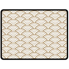Art Deco,japanese Fan Pattern, Gold,white,vintage,chic,elegant,beautiful,shell Pattern, Modern,trendy Double Sided Fleece Blanket (large)  by 8fugoso