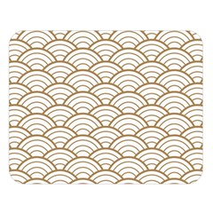 Art Deco,japanese Fan Pattern, Gold,white,vintage,chic,elegant,beautiful,shell Pattern, Modern,trendy Double Sided Flano Blanket (large)  by 8fugoso