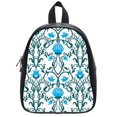 Art Nouveau, Art Deco, Floral,vintage,blue,green,white,beautiful,elegant,chic,modern,trendy,belle Époque School Bag (small) by 8fugoso