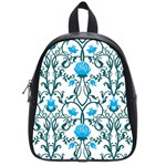 Art nouveau, art deco, floral,vintage,blue,green,white,beautiful,elegant,chic,modern,trendy,belle époque School Bag (Small) Front