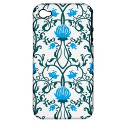 Art Nouveau, Art Deco, Floral,vintage,blue,green,white,beautiful,elegant,chic,modern,trendy,belle Époque Apple Iphone 4/4s Hardshell Case (pc+silicone) by 8fugoso