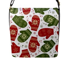 Winter Snow Mittens Flap Messenger Bag (l)  by allthingseveryone