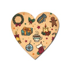 Cute Vintage Christmas Pattern Heart Magnet by allthingseveryone