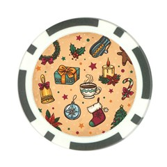 Cute Vintage Christmas Pattern Poker Chip Card Guard by allthingseveryone
