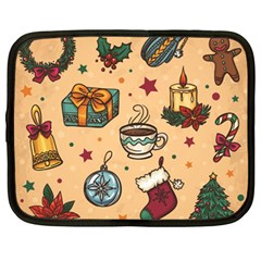 Cute Vintage Christmas Pattern Netbook Case (large) by allthingseveryone