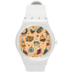 Cute Vintage Christmas Pattern Round Plastic Sport Watch (m) by allthingseveryone