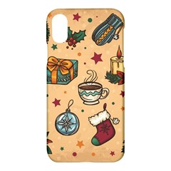 Cute Vintage Christmas Pattern Apple Iphone X Hardshell Case by allthingseveryone