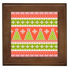 Christmas Tree Ugly Sweater Pattern Framed Tiles by allthingseveryone