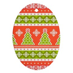Christmas Tree Ugly Sweater Pattern Ornament (oval) by allthingseveryone