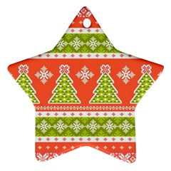 Christmas Tree Ugly Sweater Pattern Ornament (star) by allthingseveryone
