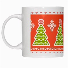 Christmas Tree Ugly Sweater Pattern White Mugs by allthingseveryone