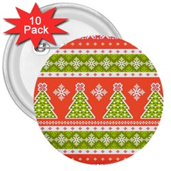 Christmas Tree Ugly Sweater Pattern 3  Buttons (10 Pack)  by allthingseveryone