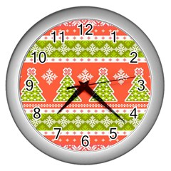 Christmas Tree Ugly Sweater Pattern Wall Clocks (silver)  by allthingseveryone