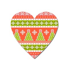 Christmas Tree Ugly Sweater Pattern Heart Magnet by allthingseveryone