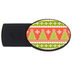 Christmas Tree Ugly Sweater Pattern Usb Flash Drive Oval (2 Gb) by allthingseveryone