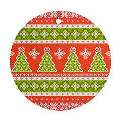 Christmas Tree Ugly Sweater Pattern Round Ornament (two Sides) by allthingseveryone