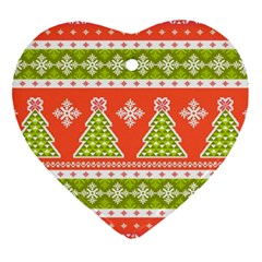Christmas Tree Ugly Sweater Pattern Heart Ornament (two Sides) by allthingseveryone