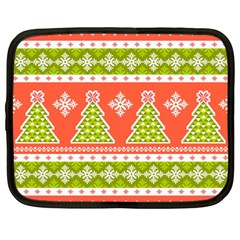 Christmas Tree Ugly Sweater Pattern Netbook Case (large) by allthingseveryone