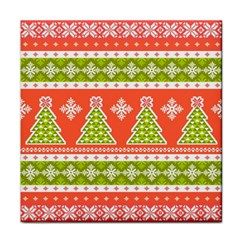 Christmas Tree Ugly Sweater Pattern Face Towel by allthingseveryone