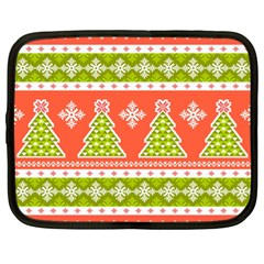Christmas Tree Ugly Sweater Pattern Netbook Case (xl)  by allthingseveryone