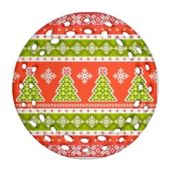 Christmas Tree Ugly Sweater Pattern Round Filigree Ornament (two Sides) by allthingseveryone