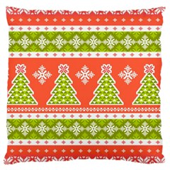 Christmas Tree Ugly Sweater Pattern Large Cushion Case (two Sides) by allthingseveryone