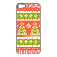 Christmas Tree Ugly Sweater Pattern Apple Iphone 5 Case (silver) by allthingseveryone