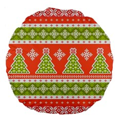 Christmas Tree Ugly Sweater Pattern Large 18  Premium Flano Round Cushions by allthingseveryone