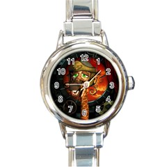 Funny Giraffe With Helmet Round Italian Charm Watch by FantasyWorld7