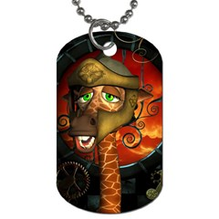 Funny Giraffe With Helmet Dog Tag (two Sides) by FantasyWorld7