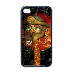 Funny Giraffe With Helmet Apple Iphone 4 Case (black) by FantasyWorld7