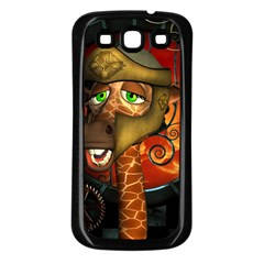 Funny Giraffe With Helmet Samsung Galaxy S3 Back Case (black) by FantasyWorld7