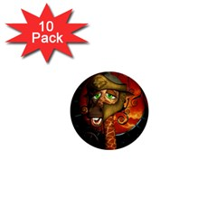 Funny Giraffe With Helmet 1  Mini Buttons (10 Pack)  by FantasyWorld7