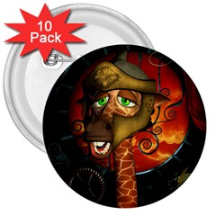 Funny Giraffe With Helmet 3  Buttons (10 Pack)  by FantasyWorld7