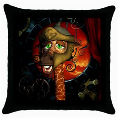 Funny Giraffe With Helmet Throw Pillow Case (black) by FantasyWorld7
